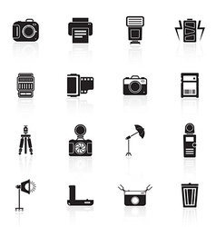 Camera and accessory icon set vector