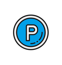 car parking sign allowed flat color line vector image