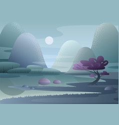 cartoon fantasy foggy morning japanese landscape vector image