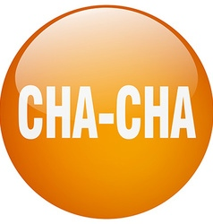Cha-cha orange round gel isolated push button vector
