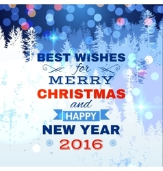 Christmas card with blue lights vector image