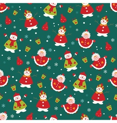 Christmas seamless pattern with girl and snowman vector image