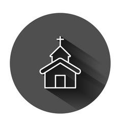 Church icon in flat style chapel on black round vector
