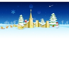 Church in Christmas night vector