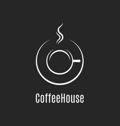coffee cup design coffeehouse logo on black vector image