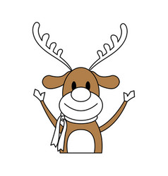 Color silhouette image cartoon half body reindeer vector