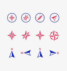 compass icons on gray background vector image