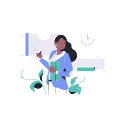 Confident happy african american businesswoman vector