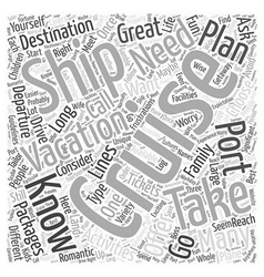 Cruise vacations word cloud concept vector