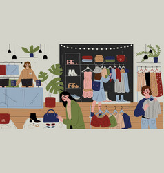 customers and staff in clothes shop chain store vector image