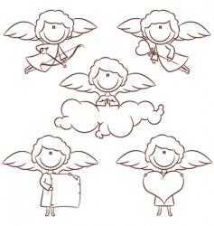 Cute cupid set vector