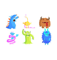 cute funny monsters set funny adorable colorful vector image