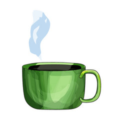Cute green steaming cup with hot drink isolated vector