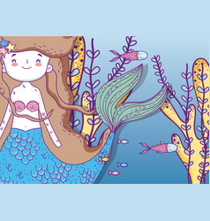 cute mermaid underwater with fishes and plants vector image