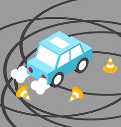 Drift car traffic cone isometric vector