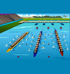 Eight rowers rowing in the competition vector