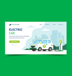 electric car charging landing page - concept vector image