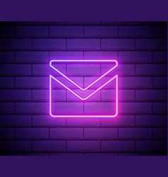email colour glowing neon ui ux icon glowing sign vector image