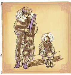 Eskimos - An hand drawn sketch freehand colored vector image