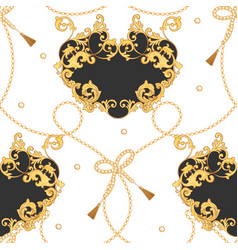Fabric seamless pattern with golden chains belts vector