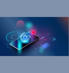 Fingerprint wi-fi smartphones futuristic smart vector