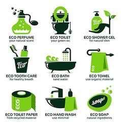 Flat icon set for green eco bathroom vector