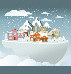 flying island village in winter vector image