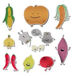 Food emoji stickers of vector