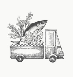 Food shop delivery logo template hand drawn truck vector