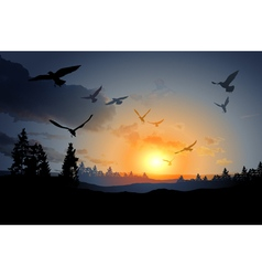 forest landscape with flock of flying bird vector image