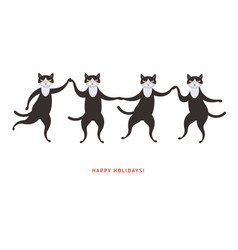 four cute dancing black cats vector image