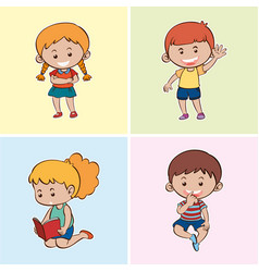 four happy kids on different backgrounds vector image