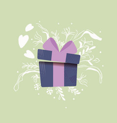 Gift box with hearts coming out and decoration vector