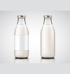 glassware milk bottles with blank labels vector image