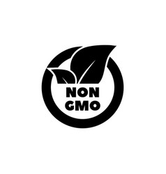 Gmo free label with leaf eco food flat icon vector