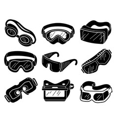 Goggles icons set simple style vector