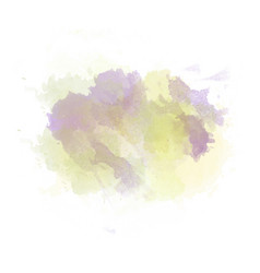 Green yellow and purple watercolor painted stain vector