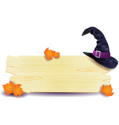 halloween signboard with hat vector image