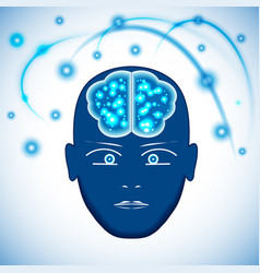 Head brain with glowing with dots thoughts vector