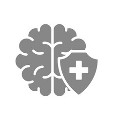 healthy protected brain gray icon first aid vector image
