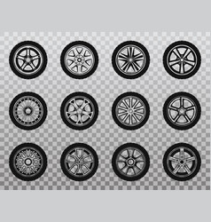 isolated wheel tyre and tire collection of icons vector image