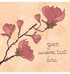 Magnolia flower card with sample text vector
