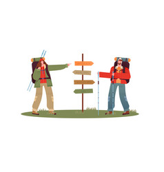 man woman hiking at travel guidepost isolated vector image