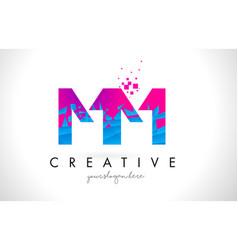 Mm m m letter logo with shattered broken blue vector