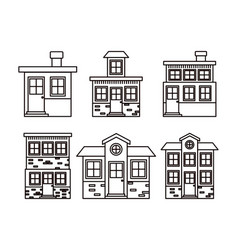 Monochrome background with set of houses facades vector