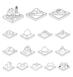 Mountains massive outline icons in set collection vector