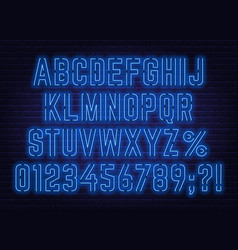 Neon blue font with numbers and punctuation marks vector