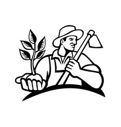 Organic farmer holding plant and grab hoe mascot vector