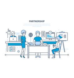 Partnerships teamwork activities communications vector