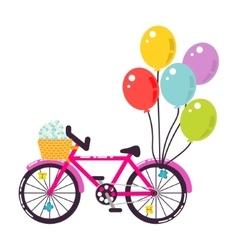 Pink girlish gift bicycle vector